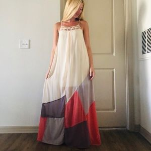 Long flowy cream dress with colors